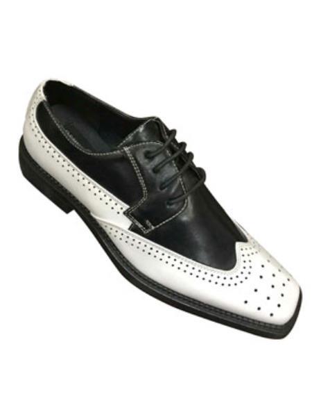 1950s Mens Shoes: Saddle Shoes, Boots, Greaser, Rockabilly Two Tone Madden Bisson Wintip Oxford Design White Dark color black Shoe $100.00 AT vintagedancer.com