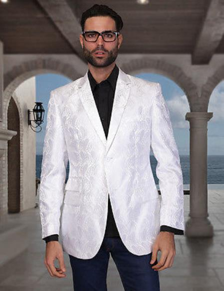 Two buttons Style White Sportcoat Jacket Dark color black Dress Pants
