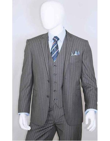 White Stripe Grey Suit