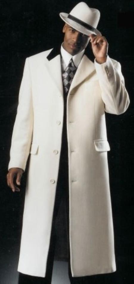White with Dark color black Velvet Collar Cashmere overcoat
