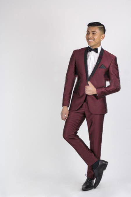 Burgundy Suit, Dark color black Collared Dinner Jacket