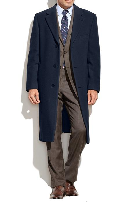 Men's Vintage Style Coats and Jackets Notch Collar Topcoat Wool Cashmere Blend Columbia Navy Overcoat $207.00 AT vintagedancer.com