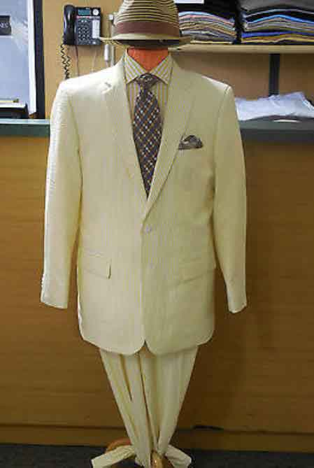 2 Button Yellow Single Breasted Notch Lapel Seersucker Suit