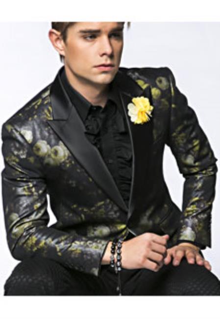 Yellow Sequin Paisley Blazer