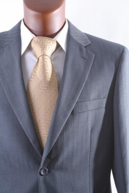 2 button Grey/Gray Tonal Stripe Mens Suit under 100 discount mens suits cheap sale