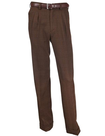 1940s Trousers, Mens Wide Leg Pants PolyRayon Plaid Pattern Brown Double Pleat Microfiber Dress Pants $63.00 AT vintagedancer.com