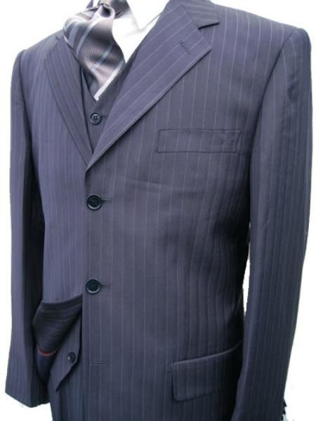 Navy Blue Pinstripe Wool Suit