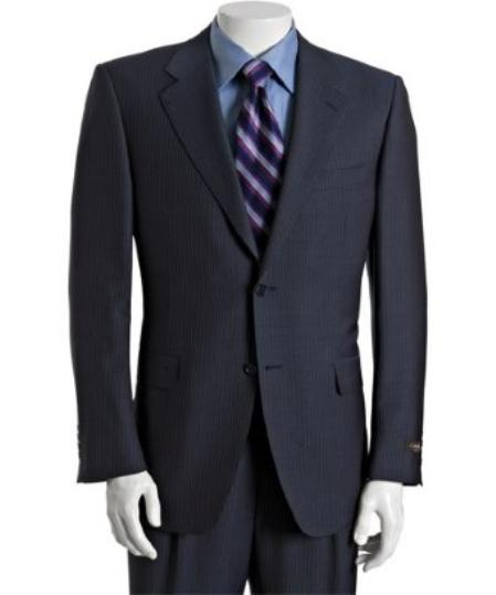 ID# BER_TZ31 Navy Pinstriped Wool-Mohair 2-Button Suit with Single Pleated creased Cuffed Trousers