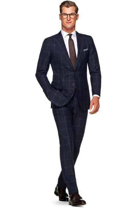 ID#DB22846 2 Button 100% Wool Windowpane Check Pattern Navy Slim Fit Suit
