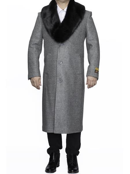 Removable Fur Collar Long men's Dress Topcoat - Winter coat 4XL 5XL 6XL Light Grey Big and Tall Large Man ~ Plus Size Three Button Overcoat