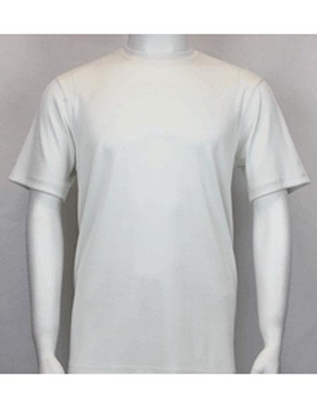 Men's Vintage Style Shirts Shiny Off White Short Sleeve Classy Mock Neck Stylish Shirt $31.00 AT vintagedancer.com