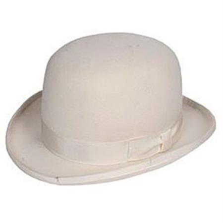 Off White Wool fabric Bowler Dress Fedora Hat For Men