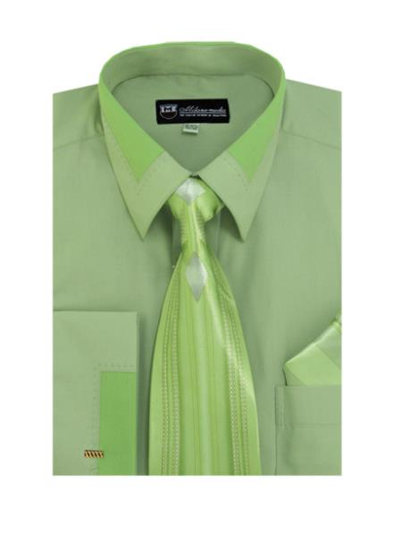 Dark Olive Spread Collar French Cuff Dress Cheap Fashion Clearance Shirt Sale Online For Men + Tie + Handkerchief Set