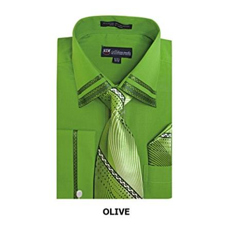 6c640e6d4745c Dark Olive Fashion Shirt with Matching Tie and Hankie Set