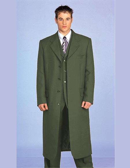 60s 70s Men's Jackets & Sweaters Maxi King Style Dark Olive 3 Piece Vested Fashion Zoot Suit JacketPantsLong Maxi Coat $161.00 AT vintagedancer.com