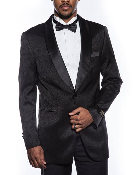 1 Button Black Tuxedo 2020 Jacket Fancy Designed Pattern Prom Wedding Best Cheap Blazer For Affordable Cheap Priced Unique Fancy For Men Available Big Sizes on sale Men Affordable Sport Coats Sale