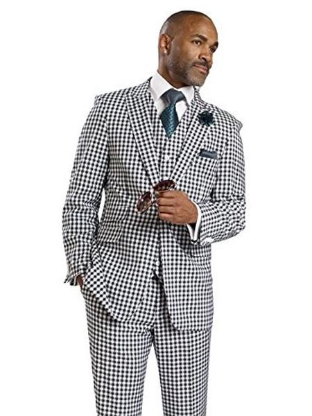 1920s Mens Suits 3 Piece 1 Button BlackWhite Houndstooth Tweed Check Dress Style Suit Vested Pocket $173.00 AT vintagedancer.com
