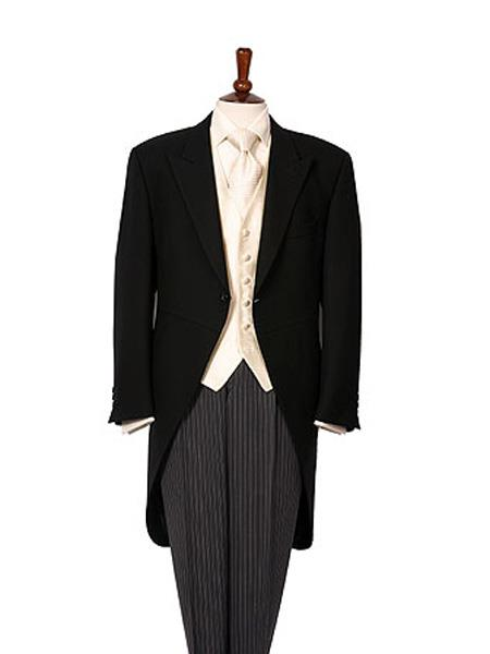 Victorian Mens Suits & Coats 1 Button Black Herringbone Wool Medium Weight Morning Coat With Striped Pant $586.00 AT vintagedancer.com