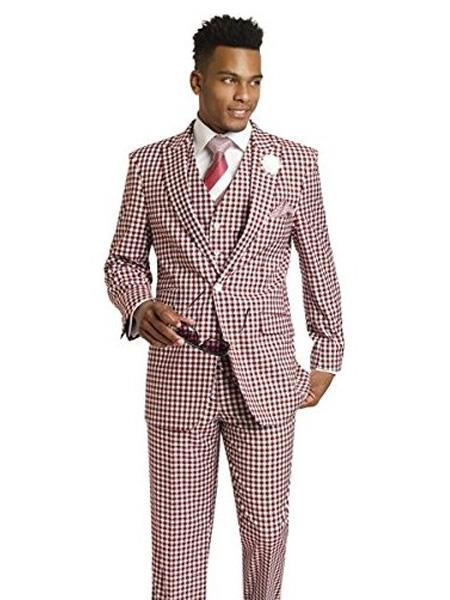 1920s Mens Suits 3 Piece 1 Button BurgundyWhite Houndstooth Tweed Check Dress Style Suit Vested Pocket $173.00 AT vintagedancer.com