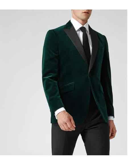 1 Button Single Breasted Dark Green Slim Fit Velvet Blazer