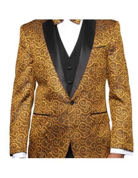 1960s Mens Suits | 70s Mens Disco Suits Gold Two Toned Alberto Nardoni Paisley Sequin BlazerPants VestedBlack Lapel $197.00 AT vintagedancer.com