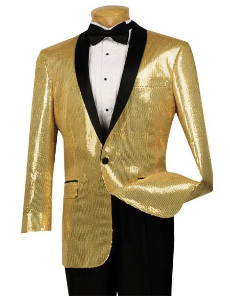 1960s Mens Suits | 70s Mens Disco Suits Sequin 1 Button Gold Single Breasted Side Vents Classic Fit Dinner Jacket $133.00 AT vintagedancer.com