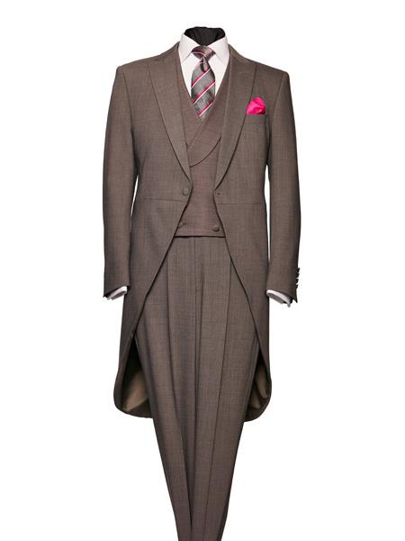 Edwardian Men's Formal Wear 1 Button Light Weight Grey Peak Lapel Wool Morning Coat $586.00 AT vintagedancer.com