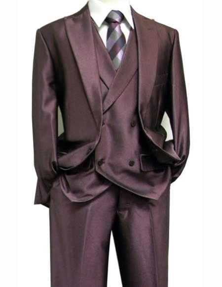 One Button Purple Sharkskin Suit