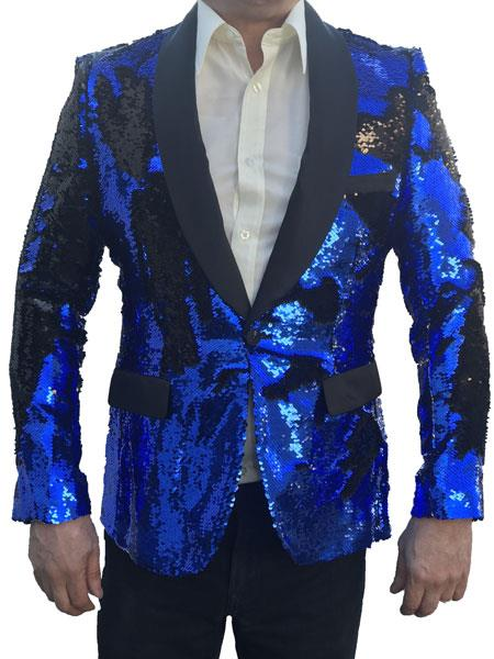 Sequin Royal Blue Tuxedo Jacket Glitter Tuxedo Royal ~ Black 1 Button Flashy Shiny Shawl Collar Best Cheap Blazer For Affordable Cheap Priced Unique Fancy For Men Available Big Sizes on sale Men Affordable Sport Coats Sale