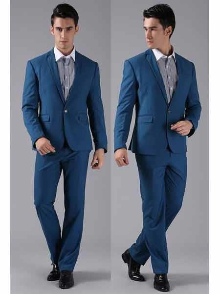 Men's 1 Button Slim Fit Formal Royal Light Blue Perfect for Wedding Tuxedo