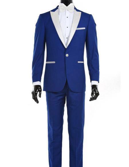 One Button Royal Blue Tuxedo