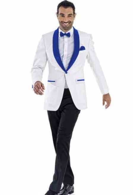One Button White Wedding Tuxedo