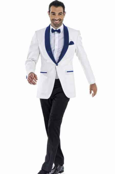 Royal Blue and White Tuxedo | Wedding Suits Online