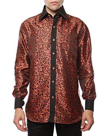 1960s – 70s Mens Shirts- Disco Shirts, Hippie Shirts Two Toned Orange-Black Shiny Satin Floral Spread Collar Paisley Dress Shirt Flashy Stage $56.00 AT vintagedancer.com