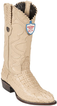 Wild West Ivory J-Toe Caiman skin ~ Gator skin Hornback Western Dress Cowboy Boot Cheap Priced For Sale Online