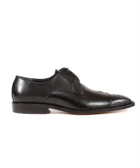 Belvedere Shoes Oxford Pisa Ostrich Calf Black