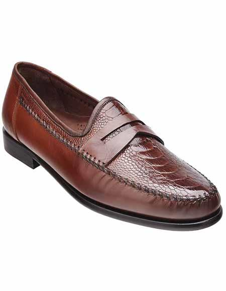 Men's Belvedere Classic Italian Cognac Ostrich Leg & Calfskin Skin Penny Loafer