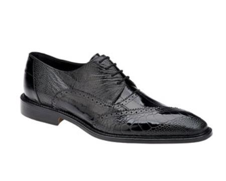 Men's Belvedere Ostrich Eel Brogue Nino Black Shoes