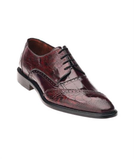 Men's Belvedere Ostrich Eel Brogue Nino Dark Red Shoes