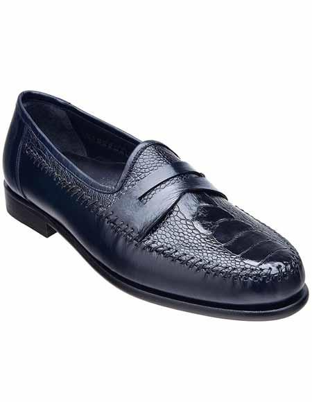 Men's Belvedere Blue Leather Ostrich Leg Skin Slip On Penny Loafer