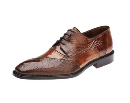 Men's Belvedere Ostrich Eel Brogue Nino Camel Shoes