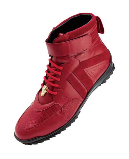 Men's Belvedere Ostrich Skin Casual Red Sneakers