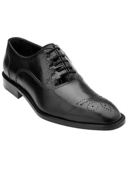 Men's Belvedere Oxford Laceup Alligator Calfskin Black