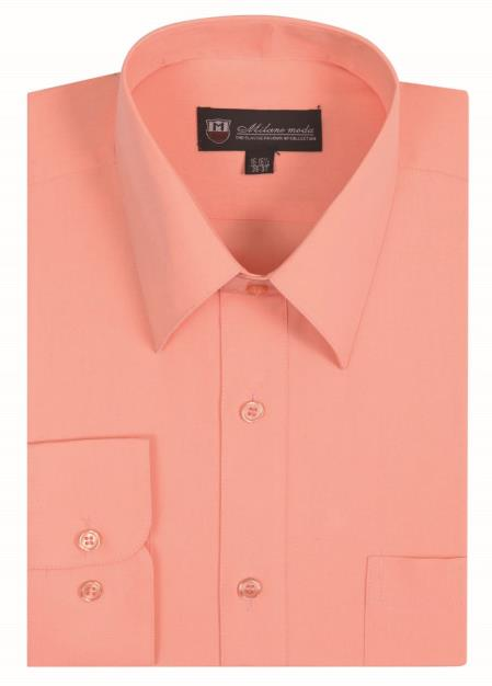 Mens Classic Fit Traditional Plain Solid Peach Color Dress S