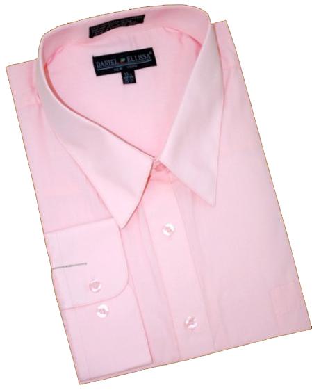 Pink Cotton Blend Dress Shirt With Convertible Cuffs