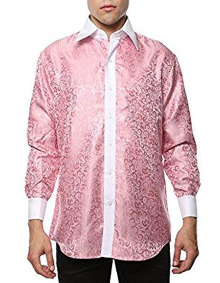 Two Toned Pink-White Shiny Satin Floral ~ Flower Spread Collar Paisley Dress Cheap Fashion Clearance Shirt Sale Online For Men Flashy Stage