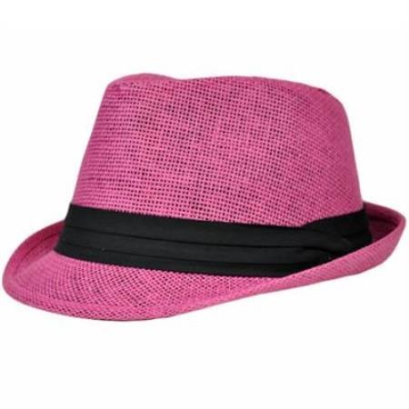 Pink with Black Fedora Hat 39064f1b2ebc