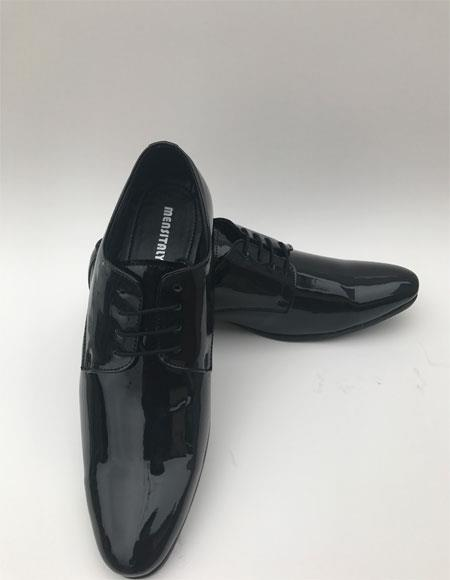 Tuxedo Black Plain Toe Lace Up Style Formal Shiny Dress Shoe