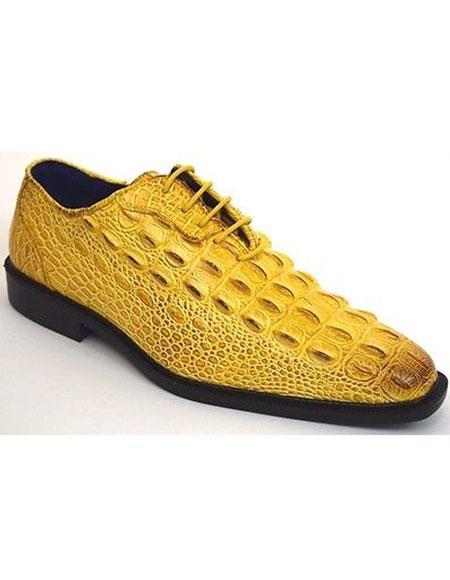 Plain Toe Yellow Dress Shoes