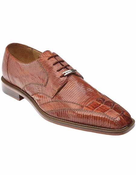 Men's Belvedere Style Lizard Hornback Pointed Toe Laceup Cognac Shoes